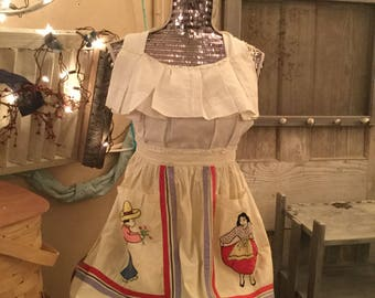 Apron Made From A Vintage Apron Skirt & Vintage Linen