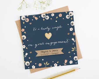 Floral Personalised Engagement Card