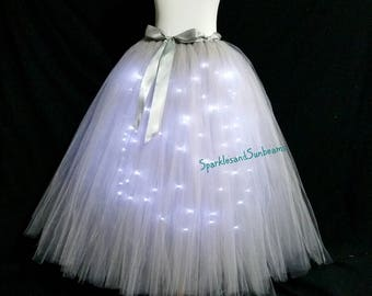 Silver long LED tutu ** Halloween Orders Available ** / Children to adult Tutu costumes/ Light up tulle skirts (33 colors available)