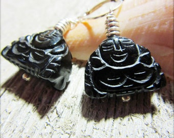 zen gift for her - Laughing Buddha earrings - happy buddha earrings - buddha jewelry - Hotei - Budai - Pu-Tai