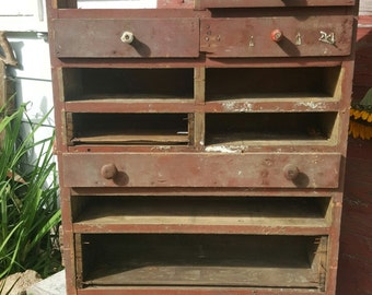 Primitive Wood Shelf, Cabinet, Farmhouse Furniture, Rustic Country Wall  Shelf,, Wall