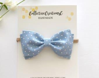 """Blue Baby Bow - Light Blue Dot Bow Headband - Baby Headband - Fabric Bow Clip - 4"""" Bow - Tuxedo Bow - Blue Bow Nylon Headband -Baby Bow Clip"""