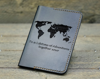 Personalized Passport Cover/  Leather Passport Holder/ Gift for Mother / Gift for traveler/ Anniversary Gift / Wedding Gift  - PC02