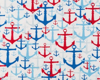red blue anchors   fabric   fat quarter, 1/2yard. or by the  yard Cotton  quilting apparel fabric