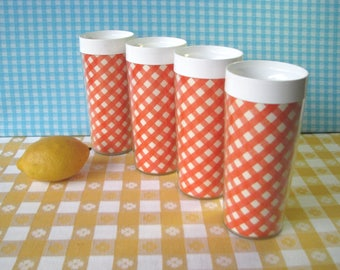 Gingham Thermo Serv Tumblers - Set of 4 - Orange Check - Westbend - Insulated - Hard Plastic Cups - Vintage - Mid Century Kitchen 1960's