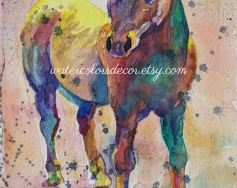 Original Rainbow Horse watercolor painting 5x7 Gay Pride Gift Paint Splatter Art Modern Cowboy decor Country Pony Portrait Animal Picture