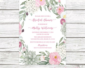 Succulent Bridal Shower Invitation, Rustic Bridal Shower Invitation, Pink and Green Bridal Shower, Floral Wreath Bridal Shower Invite