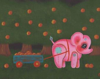Baby pink elephant nursery art print