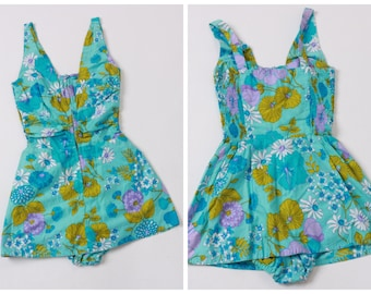 Vintage original 1950s 50s 1960s 60s Paradise Hawaii floral print skirted swimsuit UK 6 8 US 2 4 XS S