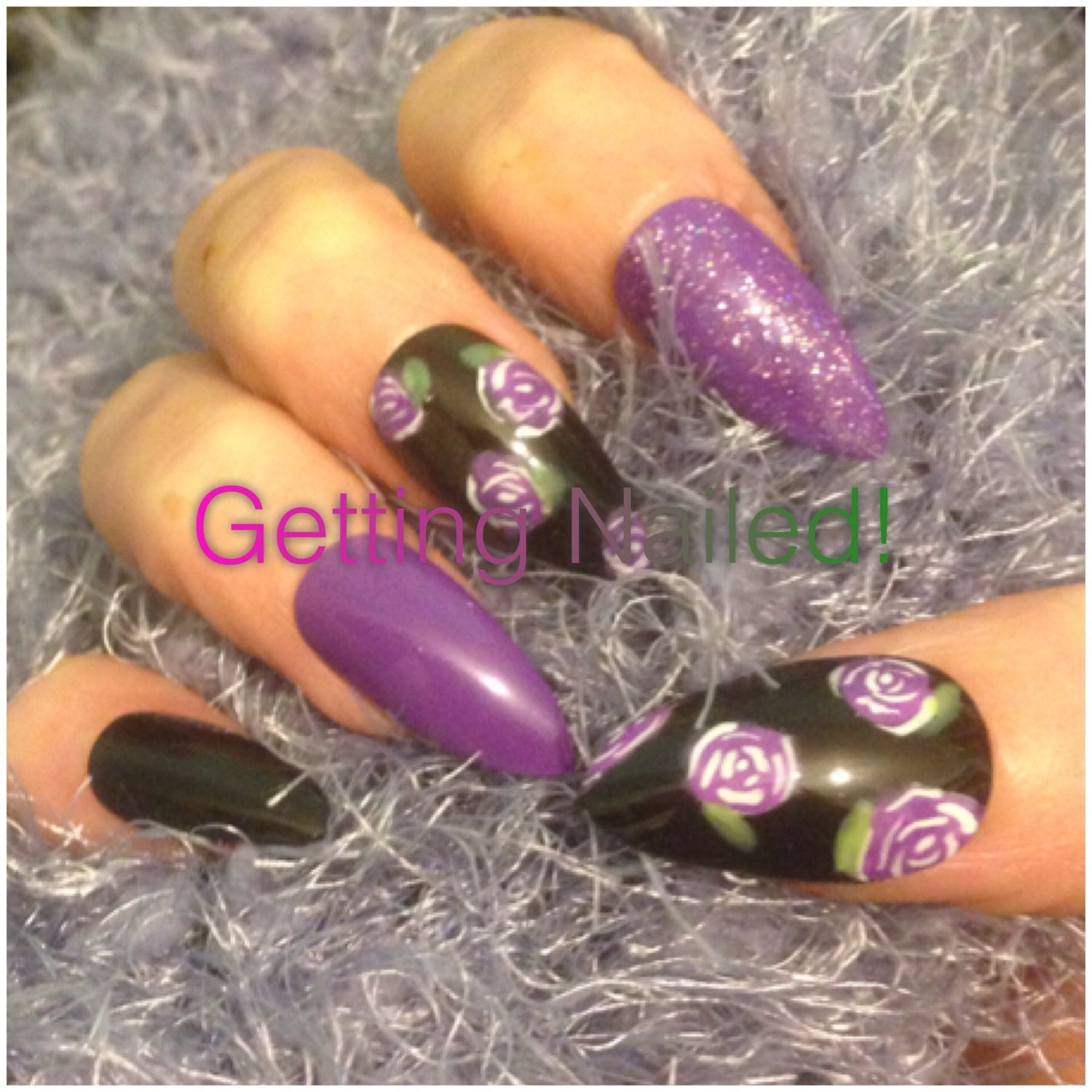 Hand painted Purple roses style press on false nails stick