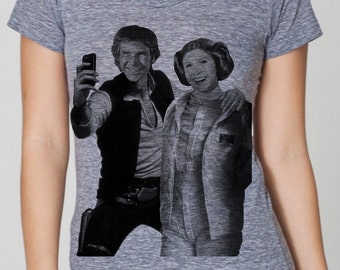Star Wars selfie on womens t shirt- american apparel athletic gray, available in S, M, L ,XL  worldwide shipping