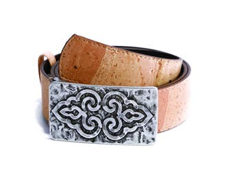 Cork Woman's belt with fantasy buckle (40mm) - FREE SHIPPING WORLWIDE - Vegan Eco-Friendly Mothers day Gift Idea