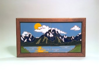 Native American Hand Painted Ceramic Tiles Framed  Jackson Hole Wyoming Hand Painted Framed Art