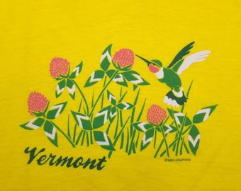 Vintage 80s Vermont Humming Bird Flowers Yellow T Shirt size Large L