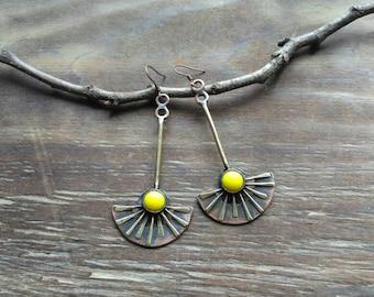 Sun summer earrings, metal glass jewelry, sun flowers, yellow, long earrings