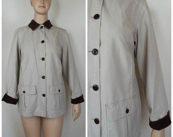 Vintage Womens 1990s LL Bean Tan Jacket / Coat with Brown Corduroy Trim and Plaid Flannel Lining | Size M