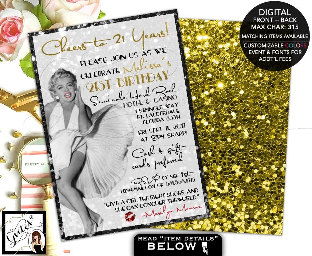 Birthday Marilyn Monroe invitations, 21st bday party, black gold ...