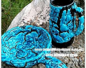 Vintage Luc Vallauris Blue Fat Lava Pitcher and Nut Dish #sophieladydeparis