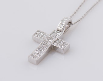 Gold cross necklace with 6 round brilliant cut diamonds diamonds cross pendant princess cut diamonds cross necklace 18k white gold pendant mens aloadofball Gallery