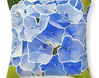 Mother's Day Gift Idea Blue Hydrangea Watercolor Decorative Pillow