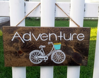Adventure Sign, Adventure with Bike Sign, Wooden Bike Sign, Bike Art, Bicycle Sign, Wooden Home Decor, Wood Signs, Bike Signs, Bicycle Art