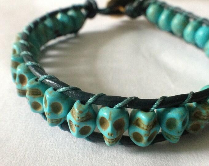 Leather Wrap Howlite Skull Bracelet