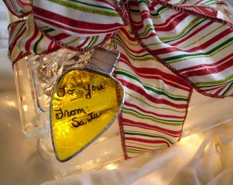 Stained Glass Christmas Light Ornament, Old Fashioned, Retro Lights, Sun Catcher, Yellow