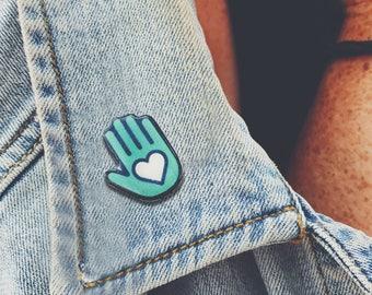Heart Hand Handmade Pin