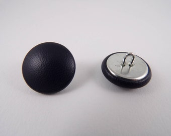6 20mm Navy blue leather covered buttons