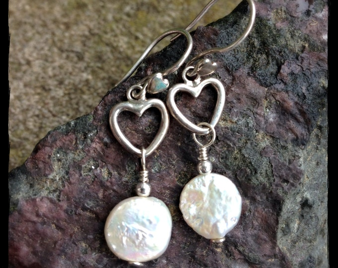 Sterling Silver Open Heart and Freshwater Coin Pearl Drops