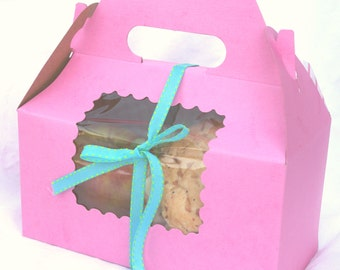 6 PiNK Gable boxes with SCALLOPED WiNDOWs- PiNK-for Favors or Cupcakes-6