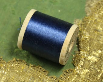 1 antique vintage pure silk thread 6250 spool deep rich blue 100 yards belding corticelli sewing fly trying doll dress flapper millinery