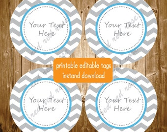 Baby Shower Birthday Party Editable Printable Blue Grey Chevron Party Supplies Stickers Favor Tags INSTANT DOWNLOAD