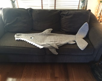 Shark Attack! Lap Blanket Knitting Pattern -- PDF 420 -- INSTANT DOWNLOAD