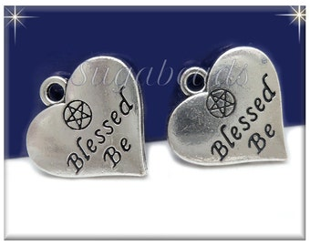 4 Antiqued Silver Pentagram Charms - Blessed Be Charms  PS210