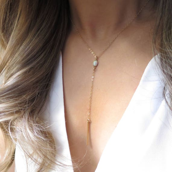 Dainty Gold Opal Y Necklace