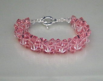 Swarovski Crystal Bridal Jewelry - Bride or Bridesmaid Bracelet - Made to Order in Any Color - Woven Crystal