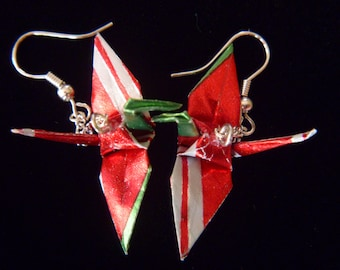 Unique little Origami Crane Earrings –free shipping– red, green stripe recycled-upcycled-reclaimed-renewed-repurposed paper #e704 marlisa