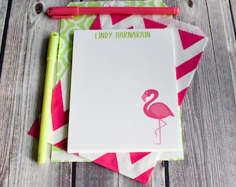 Personalized Flamingo Notepads / Personalized Notebook / Personalized Pink Flamingo Teacher Note Pads/ Set of Notepads /  Set of 2 Notepads