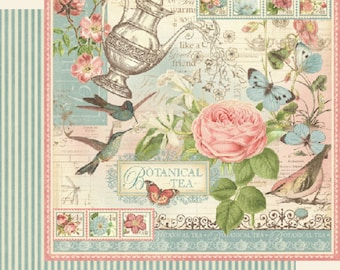 Graphic 45, Botanical Tea, Signature Sheet, 8 x 8 Paper Single Sheet, Retired, Floral