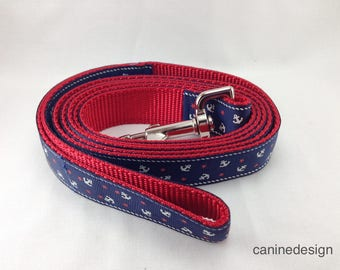 Dog Leash, Blue Anchor, 1 inch wide, 1 foot, 4 foot, or 6 foot