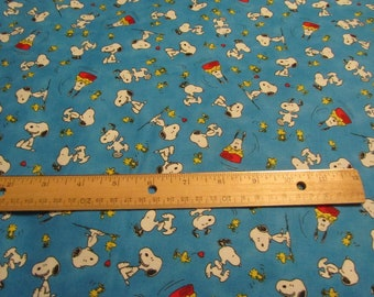 Blue Snoopy/Woodstock Happiness Toss Cotton Fabric by the  Yard