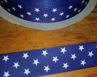 White stars/blue ribbon, Patriotic,  Americana, 4th of July grosgrain ribbon  7/8 wide