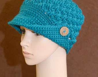 Teal Button Brim Hat