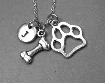 Dog bone necklace, paw necklace, dog bone paw charm, pet jewelry, dog necklace, dog paw jewelry, dog lovers gift, initial necklace, monogram