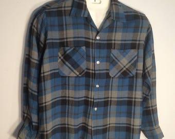 Pennleigh GRANELLA brushed rayon vintage men's shirt blue black gray flannel shirt loop collar 1950s rockabilly VLV theater costume