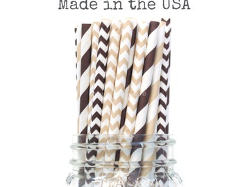 Ivory Cream Paper Straws Brown Straws, Neutral Natural Mix, Wedding, Baby Shower, Kids Birthday Party Supplies, Wedding Table Setting, USA
