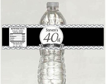 Personalized 40th Birthday Water Bottle Labels - Printable