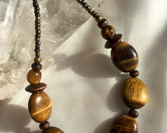 Boho Simple & dainty tiger-eye necklace--long! Earthy, shimmering and every-changing natural brown/gold stone jewelry. Great 4 layering!