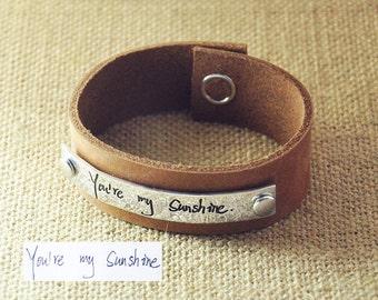 Personalized signature Leather Bracelet, Hand writing bracelet, Hammered handwriting jewelry, Custom Signature bracelet, Valentine's gift